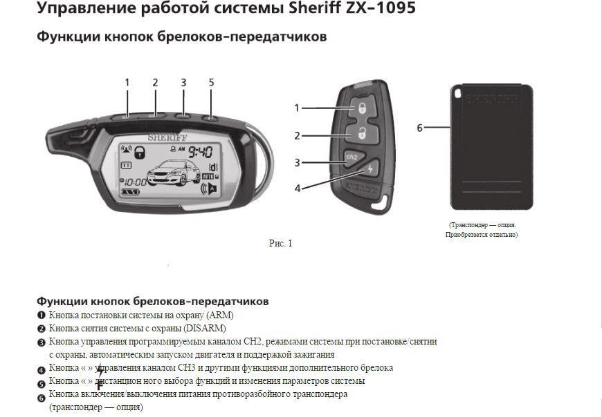 Управленте работой системы Sheriff ZX-1095