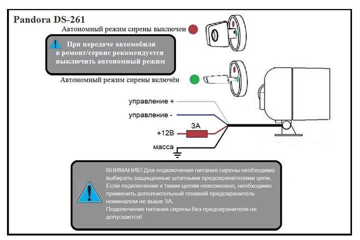 Pandora ds 261 инструкция