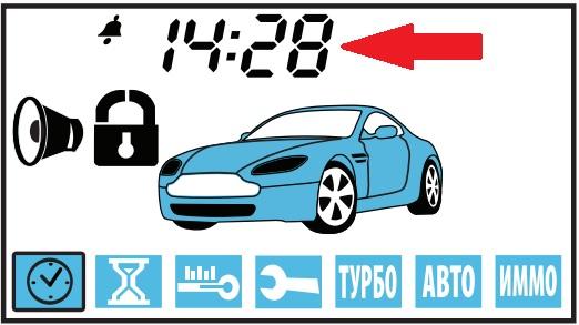 Расположение часов на экране брелка