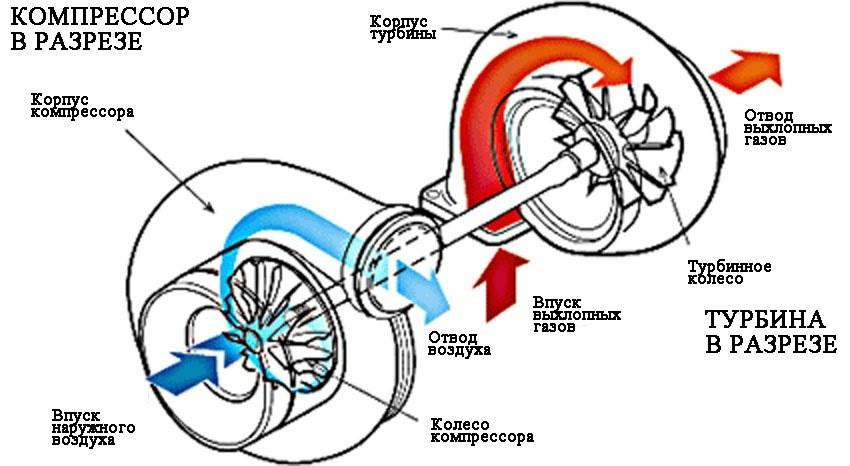 Компрессор и турбина в разрезе